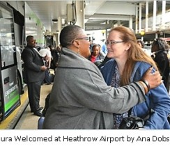 Laura Welcomed at Heathrow Airport by Ana Dobson