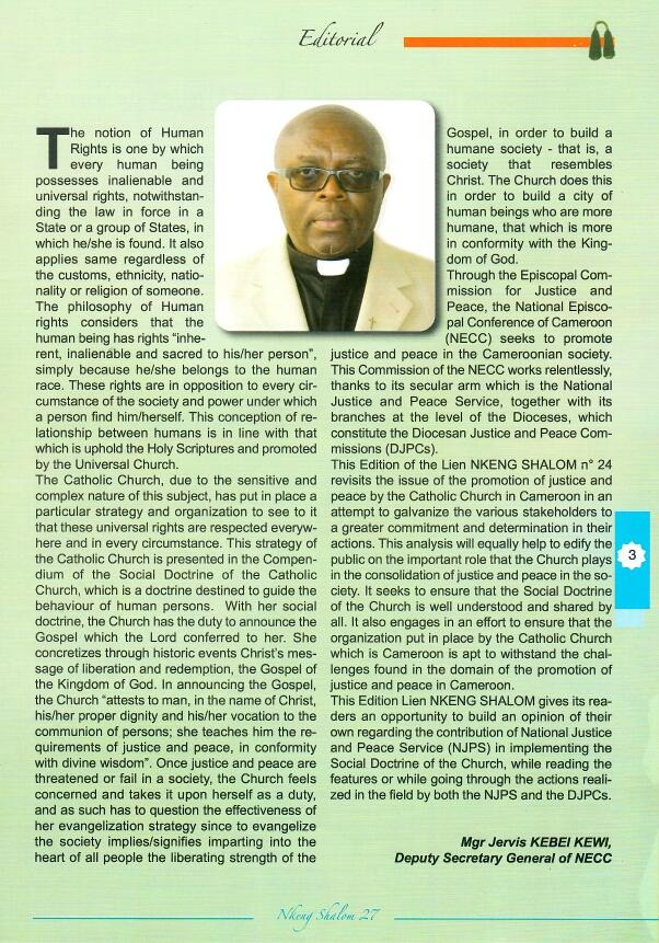 Page 3, Le Lien NKENG-SHALOM No. 27 (Editorial)